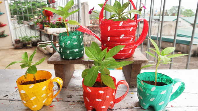 Recycle Plastic Bottles Into Colorful Teapot Flower Pots For Your Balcony And Small Garden