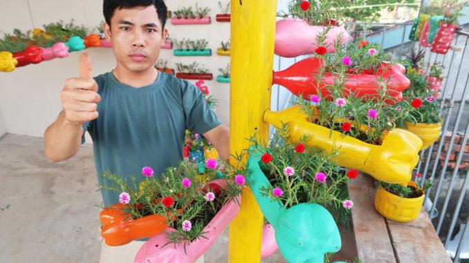 Recycle spiral plastic flower gardening bottles, Beautiful Portulaca Garden