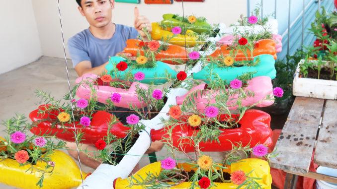 recycling aerial garden plastic bottles, gorgeous aerial portulaca gardens