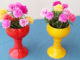 Beautiful cup-shaped flower pot ideas from plastic bottles left to plant Portulaca (Moss Rose) (2)
