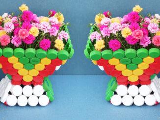 Great Flower Pot, Recycling Plastic Bottle Cap Makes Beautiful Flower Pots For Small Garden
