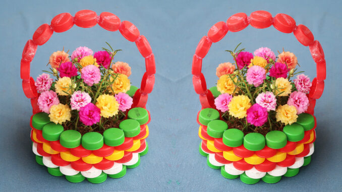 Recycle Plastic Bottle Caps To Make Beautiful Ccolorful Flower Pots For Your Small Garden (1)