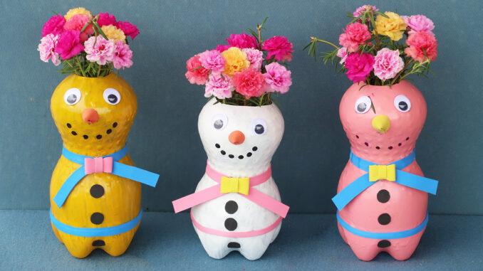 Creative Flower Pots From Plastic Bottles, Beautiful Snowman Flower Pots Ideas For Small Gardens
