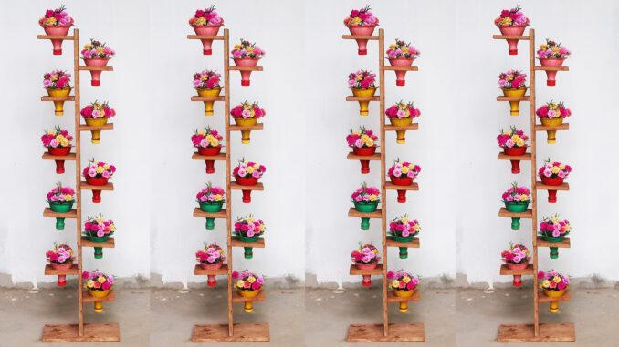 Recycle beautiful vertical garden plastic bottles - Vertical garden idea for small balcony