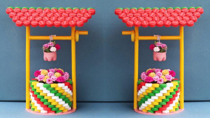 Recycle Plastic Bottle Caps For Beautiful Water Well Flower Pots, Portulaca Wells Pots