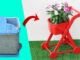 The Idea Of Recycling The Trash Can Into A Beautiful Stroller Flower Pot For The Garden