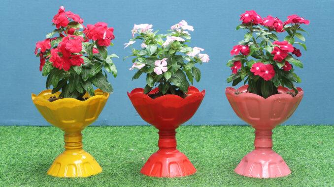 Creative Pots, Recycling Plastic bottle Make Beautiful Colorful Flower Pots