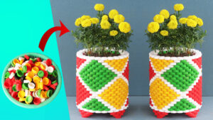 Recycle Plastic Bottle Caps To Make Beautiful Colorful Art Flower Pot (1)