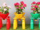 Unique and creative with beautiful colorful flower pots from recycled plastic bottles