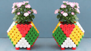 Beautiful Colorful Cube Flower Pots Ideas From Recycled Plastic Bottle Caps