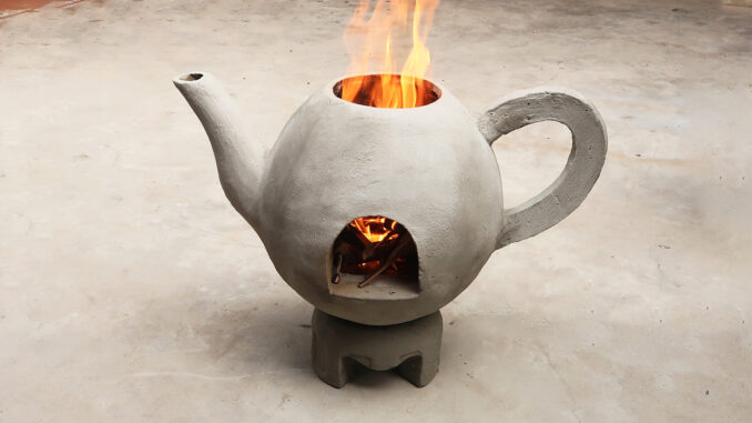 DIY Teapot Shaped Cement Stove At Home   Great Smoke Free Wood Stove Idea
