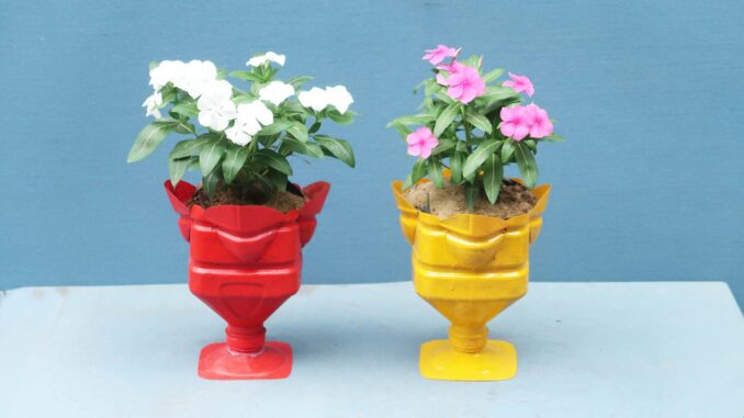 DIY Beautiful Colorful Flower Pots From Plastic Bottles For Small Gardens