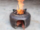 Creative wood stove, the idea of casting a wood stove from a hot and cold tank and cement