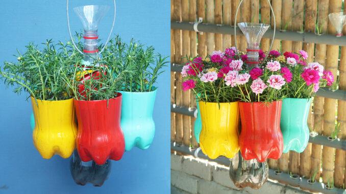 Great creative hanging garden from plastic bottles