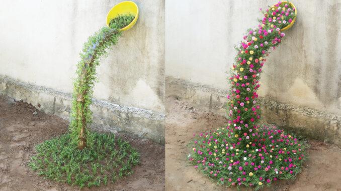 Beautiful Portulaca (Mossrose) planting waterfall garden ideas for small gardens