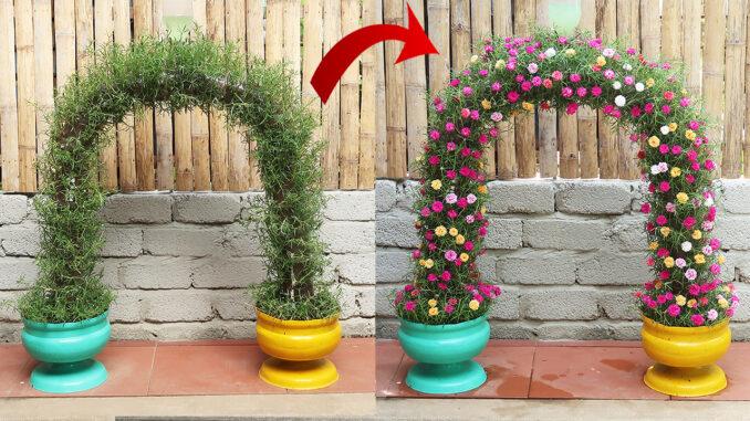 Beautiful flower gate garden ideas from plastic bottles