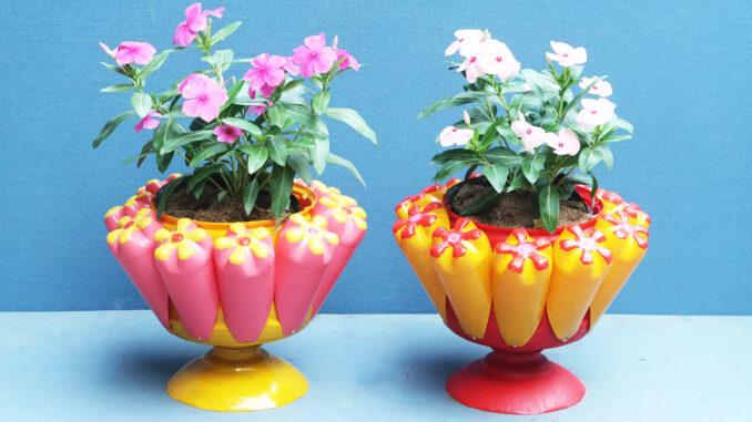 DIY creative plant pots | Reuse plastic bottles as wonderfully beautiful flower pots