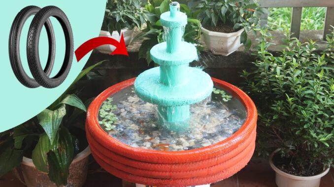 Turn old tires into beautiful waterfall aquarium, Great cement idea